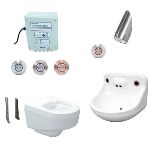DVS Anti-Ligature High Risk Wall-Hung Toilet, Basin & Shower Pack - Tactile Switch Controls